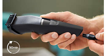 Lithium Ion battery, for up to 90 minutes of cordless use