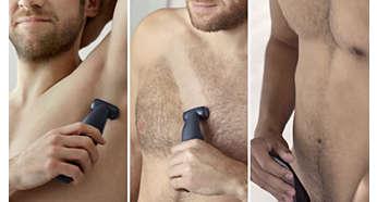 Bezpieczne golenie lub przycinanie wszystkich obszarów