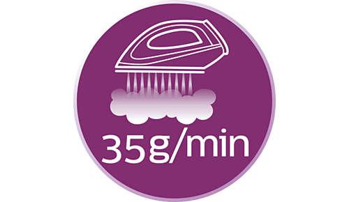 Stoomproductie tot 35 g/min. voor krachtige, stabiele strijkresultaten