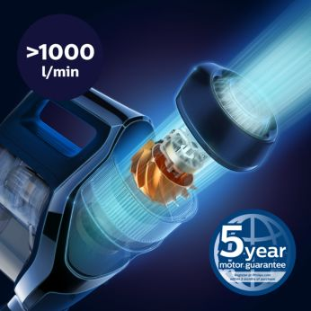 PowerBlade digital motor creates high airflow (>1000 L/min)
