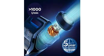 Cyfrowy silnik PowerBlade zapewnia wysoki poziom przepływu powietrza (>1000 l/min)
