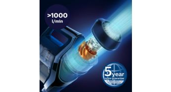 PowerBlade digital motor creates high airflow (>1000 L/min) - Philips SpeedPro Max Stick Vacuum Cleaner