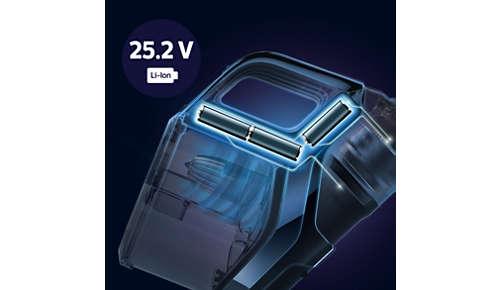 Fino a 65 minuti di autonomia, grazie alle batterie agli ioni di litio da 25V