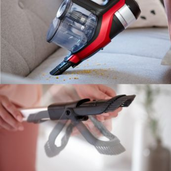 Integrated Handheld unit, Crevice Tool and Brush