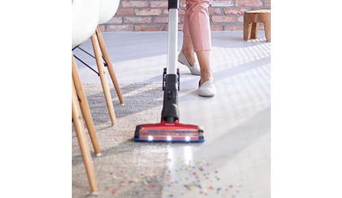 Eén mondstuk voor harde vloeren en tapijt