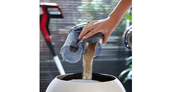 Unique dust bucket design empties without dust clouds