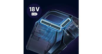 Bis zu 45Minuten Reinigungskraft mit 18-V-Lithium-Ionen-Akku