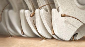 Cabeça de depilação feita com material em cerâmica exclusiva para facilitar o manuseio