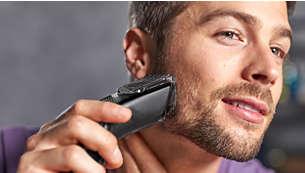 Avec un sabot barbe réglable offrant 12hauteurs de coupe, de 1 à 23mm
