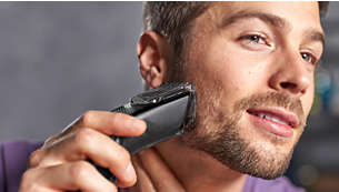 Med en skäggkam för 12 justerbara längder: 1 till 23mm