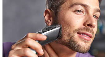 Incluye un peine-guía para barba con 12longitudes ajustables: 1mm - 23mm