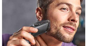 Inclui um pente de barba com 12 comprimentos ajustáveis: de 1 a 23 mm