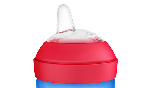 Flexible silicone spout, gentle on gums