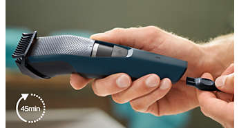 45 minutes of cordless use or plug it in