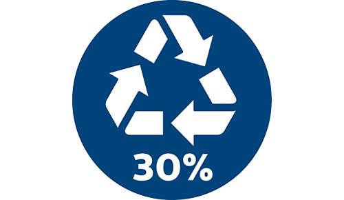 30% recycelte Kunststoffe