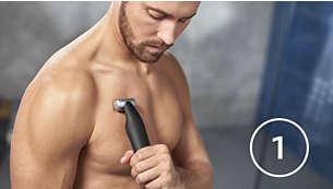 Pré-rasage avec la tondeuse corps