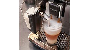Silkinsileä maitovaahto nopealla LatteGo-järjestelmällä