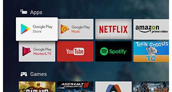 """""""Google Play Store"""" ir """"Philips App Gallery"""". Daugiau mėgstamų dalykų."""