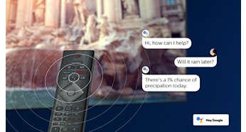 Inbyggd Google Assistant. Innehåll på ditt kommando.