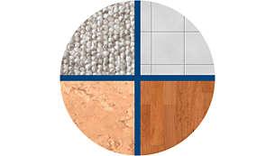 Подходящ за всякакви твърди подови повърхности и килими