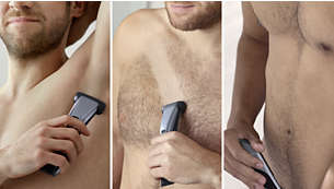 Confidently shave or trim all body zones with one tool