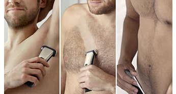 Trimma eller raka alla delar av kroppen bekvämt och säkert