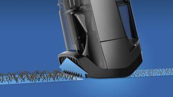 Navádza ležiace chĺpky smerom kčepeliam pre dosiahnutie rovnomerného strihu