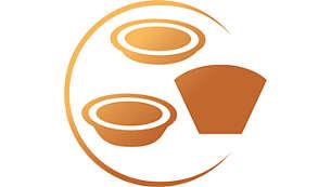 Utvalg av pute- og filterkaffeblandinger for alle situasjoner