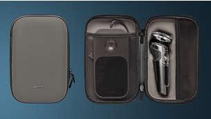 Protege la afeitadora, el panel de carga Qi y los accesorios