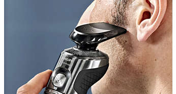 Click-on trimmer for perfect moustache and sideburn trimming