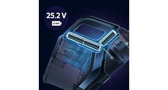 До 75минут* эффективной уборки благодаря литий-ионному аккумулятору 25,2В