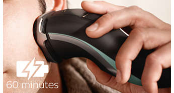 60 minutes of cordless shaving one-hour charge