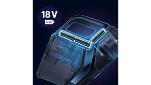 Jusqu'à 38minutes d'autonomie avec les batteries Li-ion 18V