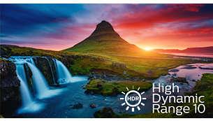 Capacité HDR10 vous laisse admirer davantage de détails et des couleurs exceptionnelles