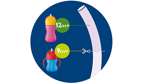 Apto para todos los vasos con pajita flexible