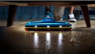 LEDs in the nozzle reveal hidden dust and dirt