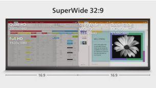 Schermo Superwide in 32:9 progettato per sostituire le impostazioni multischermo