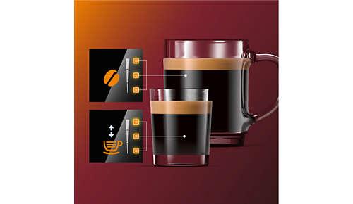 Regola l'intensità dell'aroma e la quantità tramite My Coffee Choice