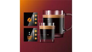 Ajusteaza intensitatea aromei si cantitatea cu My Coffee Choice