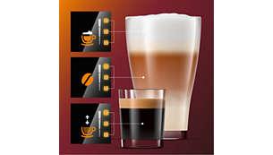 Pielāgojiet aromātu, stiprumu un daudzumu, lietojot funkciju Mana kafijas izvēle