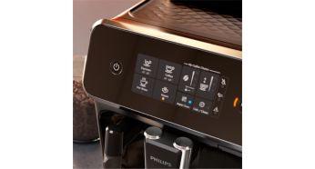 Selectare usoara a cafelei cu afisajul tactil intuitiv