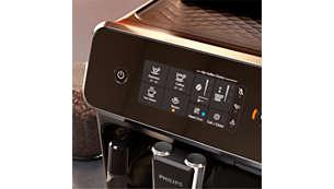 Seleção fácil do seu café com o ecrã tátil intuitivo