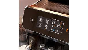 Velg kaffetype enkelt med den intuitive berøringsskjermen