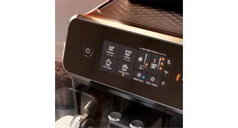 Легко выбирайте любимый кофе с помощью простого сенсорного дисплея
