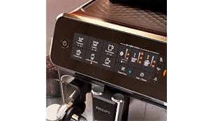 Fácil selección del café con la intuitiva pantalla táctil