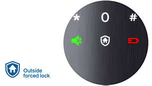 Outside forced lock: Instant alarm upon inside unlocking