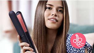 Keratin-belagte keramiske plater for god glid og skinnende hår