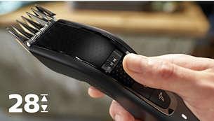 Selectează cu rotiţa de reglare cele 28 de setări de lungime: de la 0,5 la 28 mm