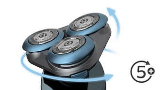 Εύκαμπτες κεφαλές 5 κατευθύνσεων προσαρμόζονται στο περίγραμμα για άνετο ξύρισμα