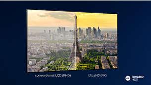 Televisor LED brillante 4K. Imagen HDR vibrante. Movimiento suave.